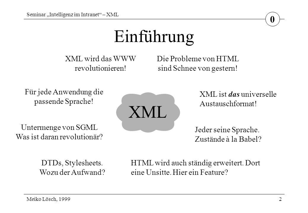 """Seminar """"Intelligenz im Intranet – XML Meiko Lösch, 1999 Stylesheets 13 DSSSL Document Style Semantics and Specification Language wird bei SGML-Dokumenten eingesetzt –Software bereits verfügbar vom W3C nicht vorgeschlagen komplex aber mächtig leichte Integration in bestehende SGML-Systeme 3"""