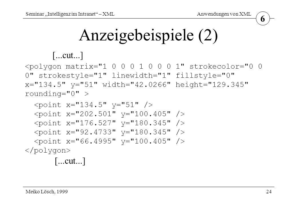 """Seminar """"Intelligenz im Intranet – XML Meiko Lösch, 1999 Anwendungen von XML 24 Anzeigebeispiele (2) 6 [...cut...] [...cut...]"""