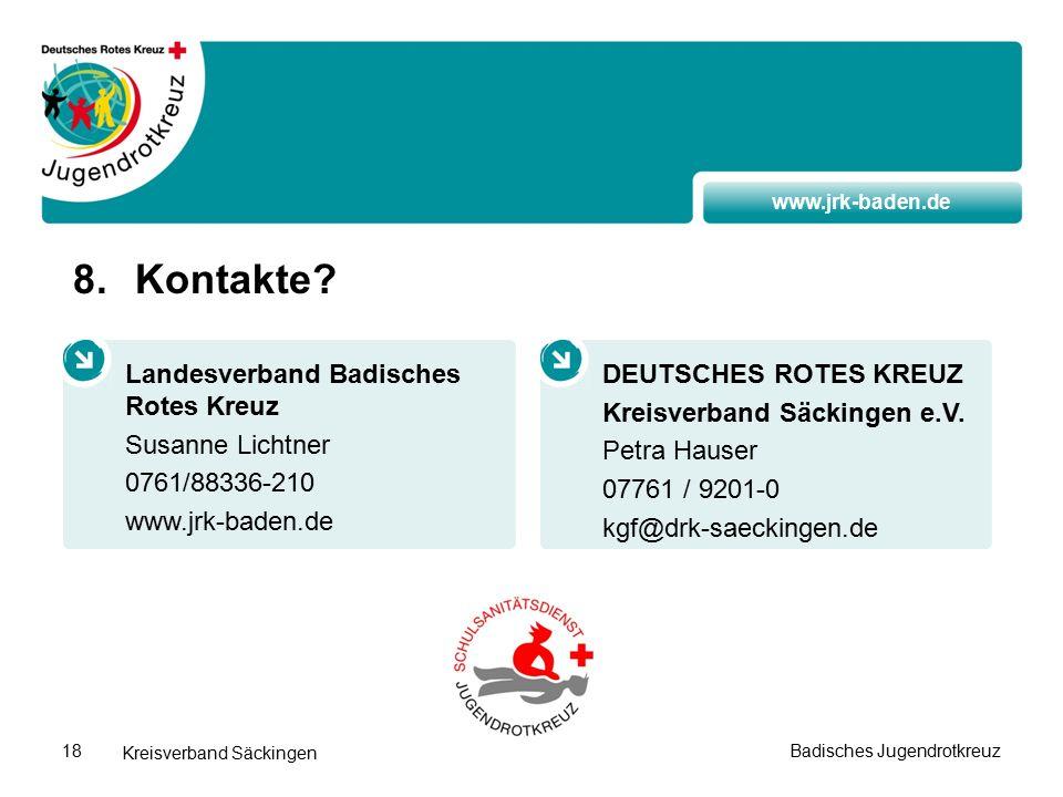 www.jrk-baden.de Kreisverband Säckingen Badisches Jugendrotkreuz18 8.Kontakte.