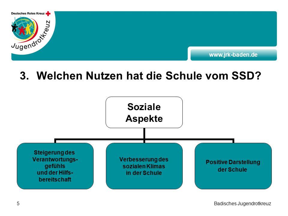 www.jrk-baden.de Badisches Jugendrotkreuz5 3.Welchen Nutzen hat die Schule vom SSD.