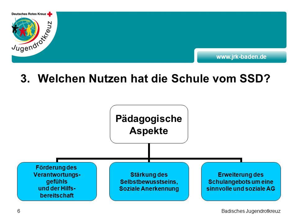 www.jrk-baden.de Badisches Jugendrotkreuz6 3.Welchen Nutzen hat die Schule vom SSD.