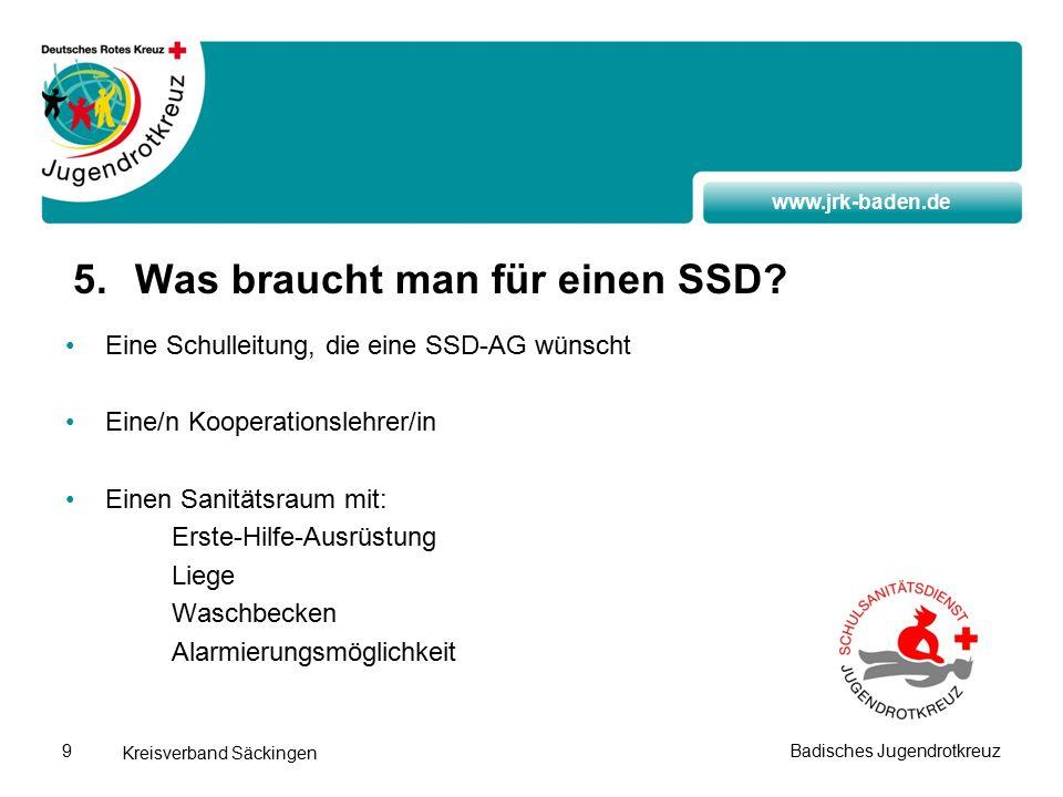 www.jrk-baden.de Kreisverband Säckingen Badisches Jugendrotkreuz9 5.Was braucht man für einen SSD.