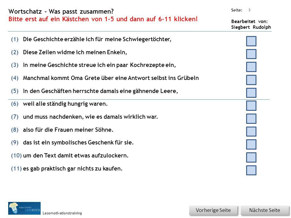 Übungsart: Seite: Bearbeitet von: Siegbert Rudolph Lesemotivationstraining 2 01 Zunächst einmal – bitte klicken.
