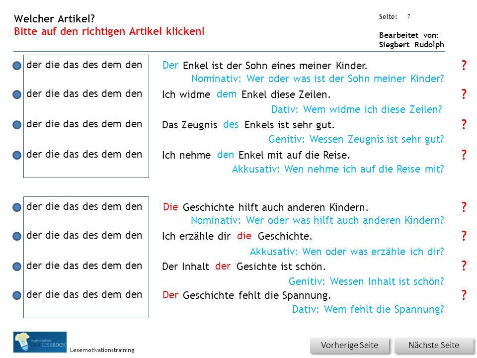Übungsart: Seite: Bearbeitet von: Siegbert Rudolph Lesemotivationstraining 7 Welcher Artikel.