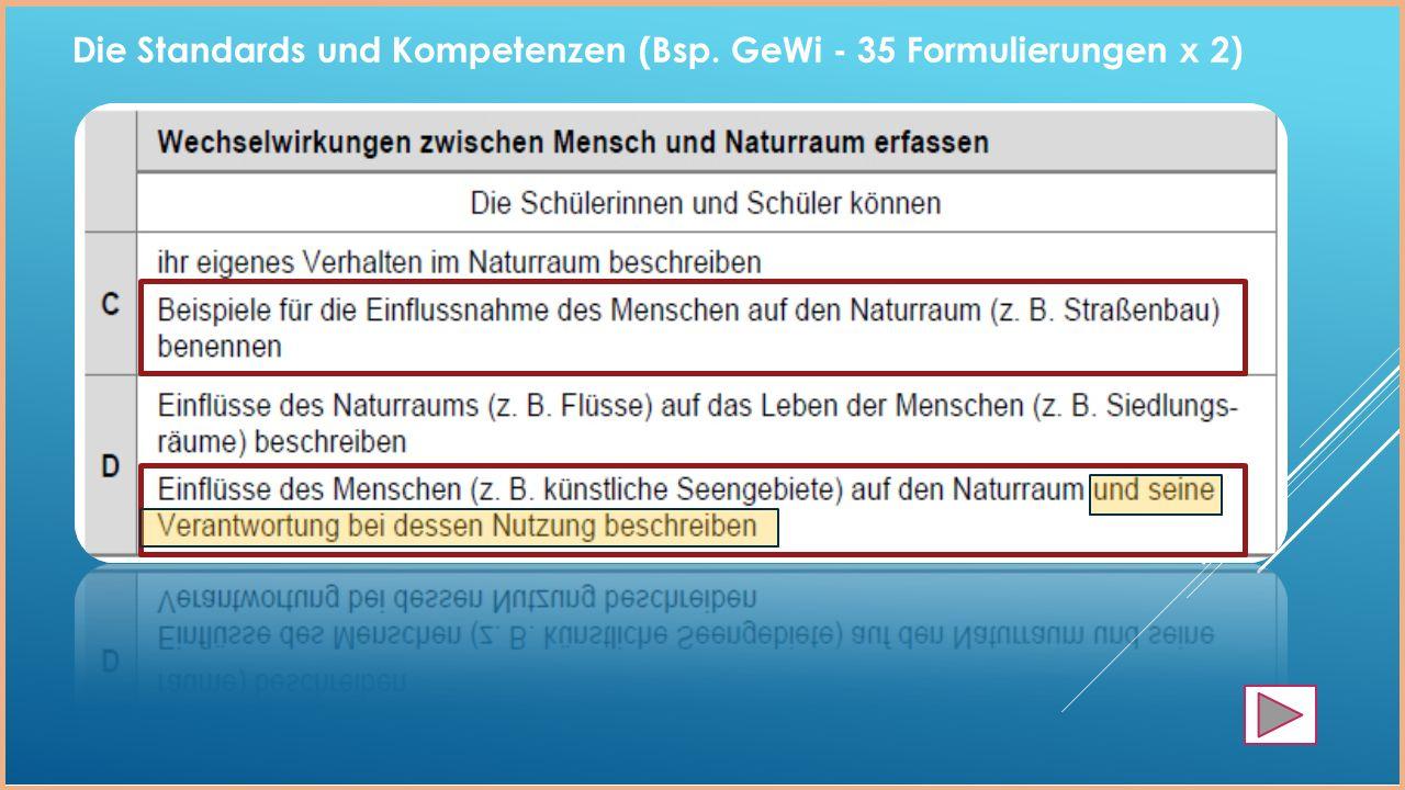 Die Standards und Kompetenzen (Bsp. GeWi - 35 Formulierungen x 2)