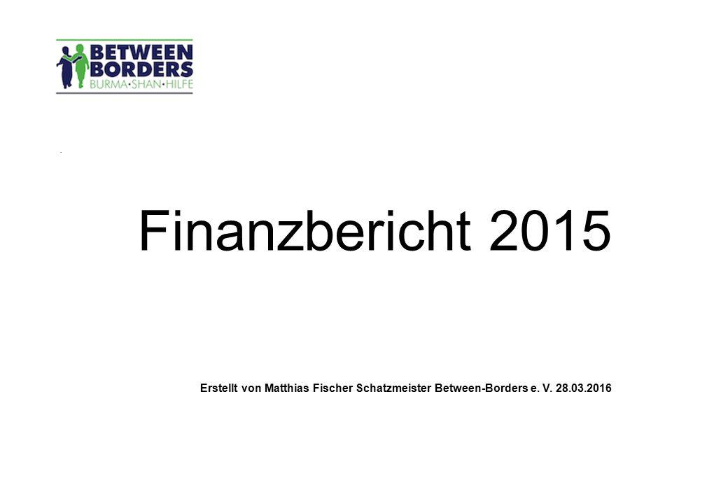 . Finanzbericht 2015 Erstellt von Matthias Fischer Schatzmeister Between-Borders e. V. 28.03.2016