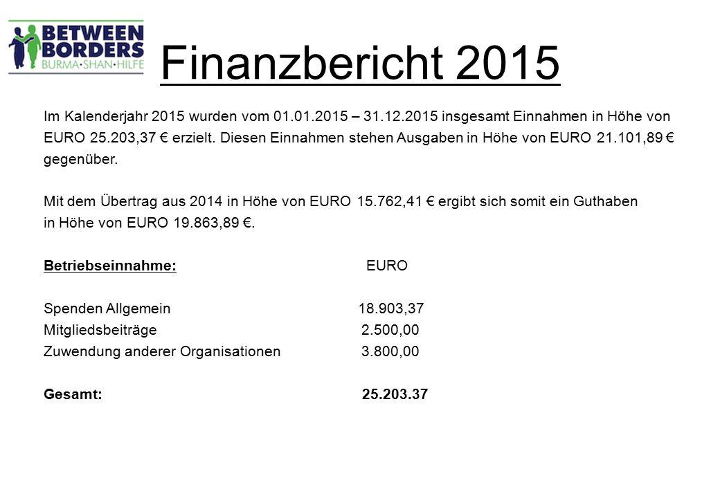 Finanzbericht 2015 Im Kalenderjahr 2015 wurden vom 01.01.2015 – 31.12.2015 insgesamt Einnahmen in Höhe von EURO 25.203,37 € erzielt.