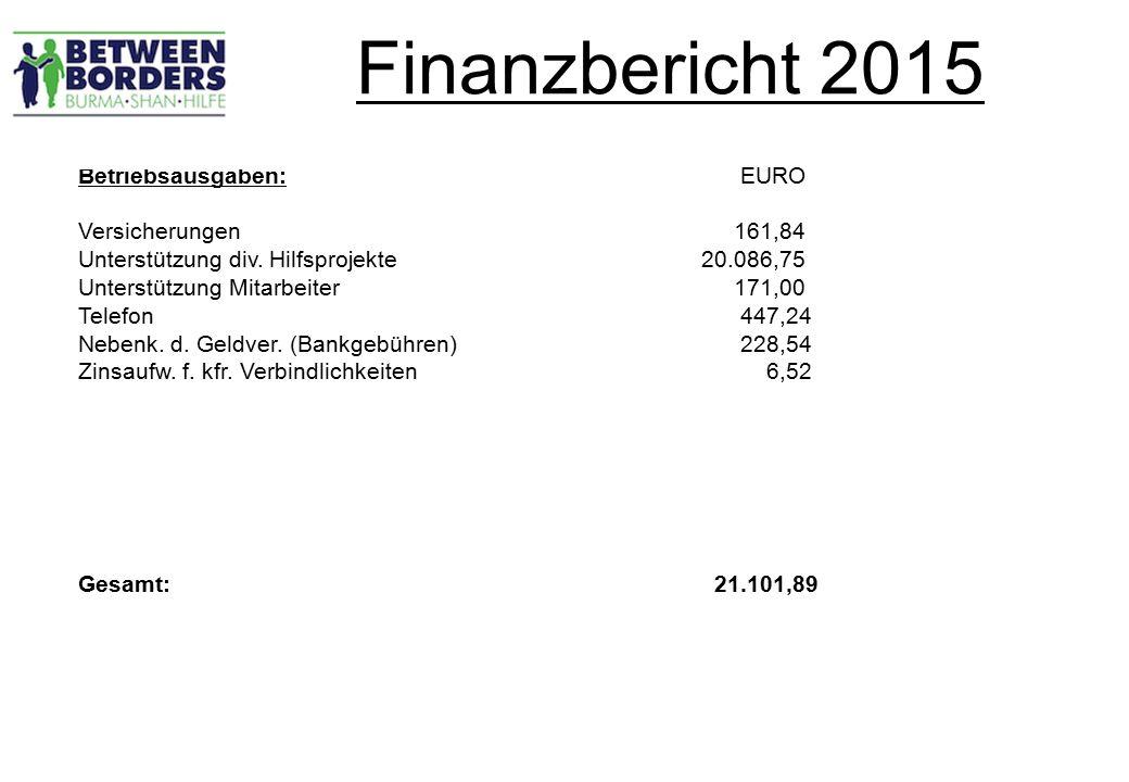 Finanzbericht 2015 Betriebsausgaben: EURO Versicherungen 161,84 Unterstützung div.