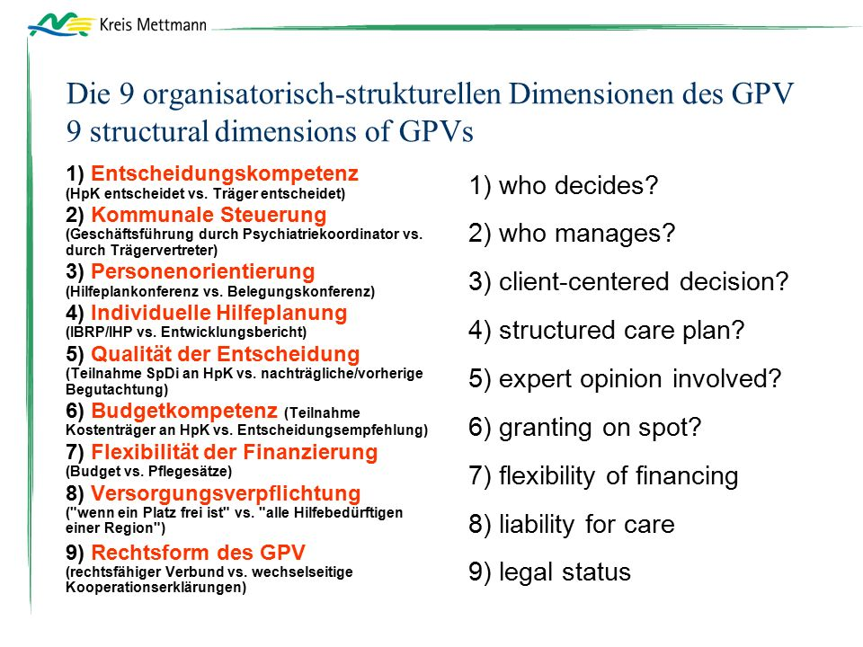 Die 9 organisatorisch-strukturellen Dimensionen des GPV 9 structural dimensions of GPVs 1) Entscheidungskompetenz (HpK entscheidet vs.