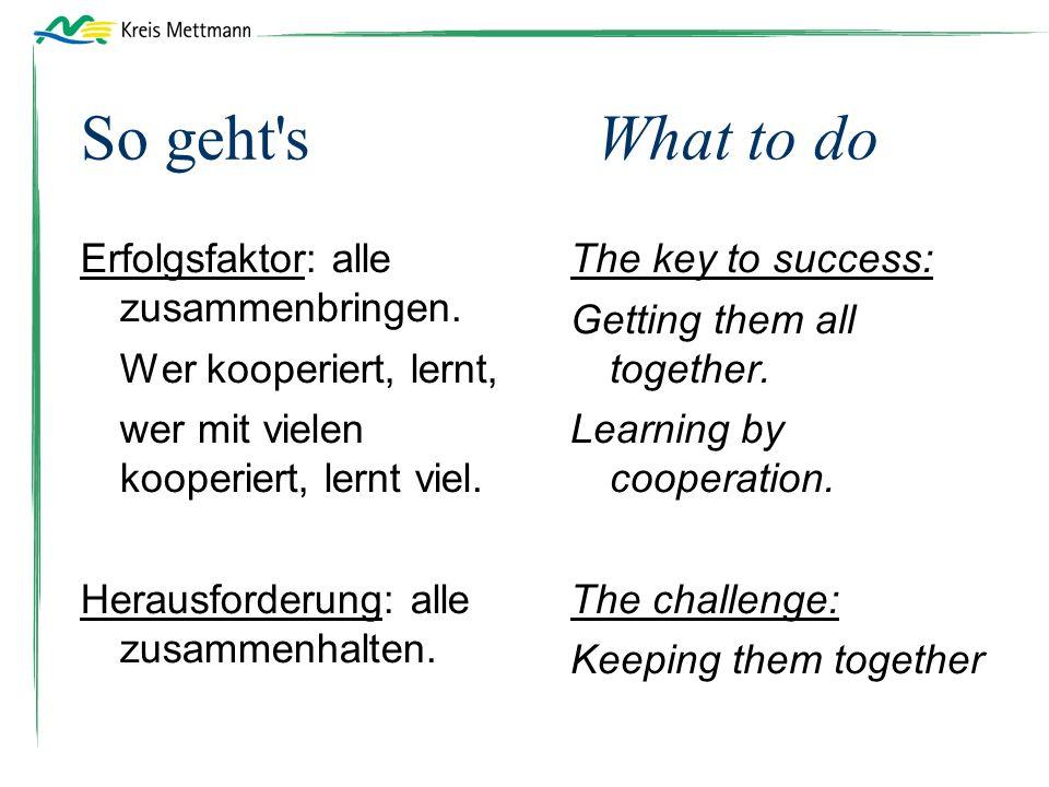 So geht sWhat to do Erfolgsfaktor: alle zusammenbringen.
