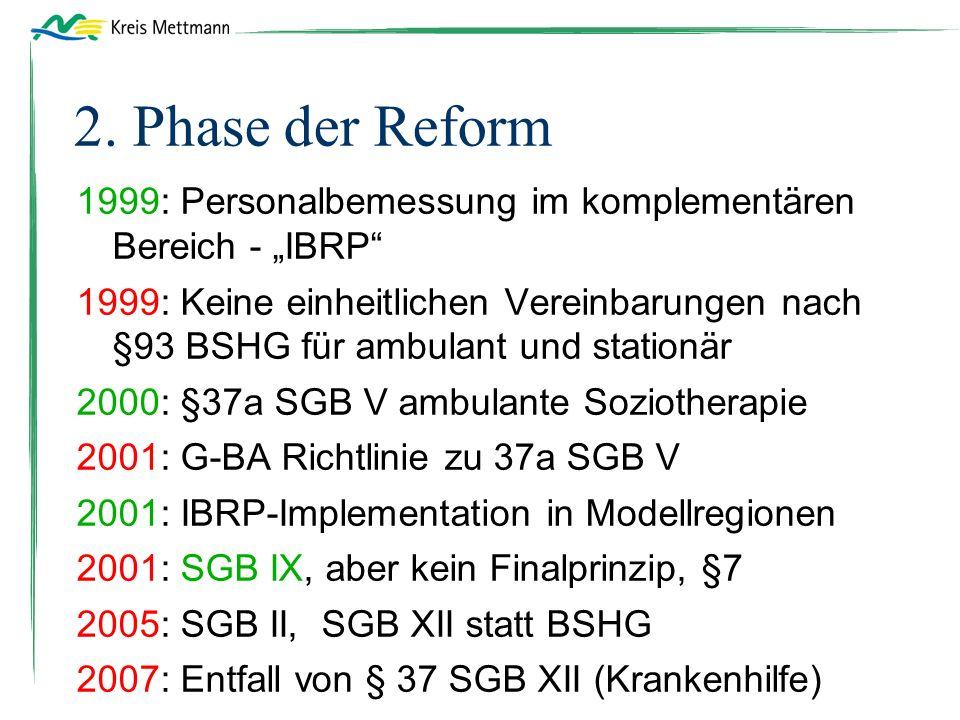 """2. Phase der Reform 1999: Personalbemessung im komplementären Bereich - """"IBRP"""" 1999: Keine einheitlichen Vereinbarungen nach §93 BSHG für ambulant und"""