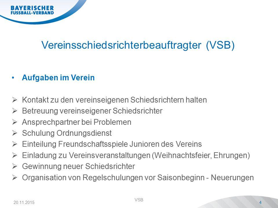 Vereinsschiedsrichterbeauftragter (VSB) Aufgaben im Verein  Kontakt zu den vereinseigenen Schiedsrichtern halten  Betreuung vereinseigener Schiedsri