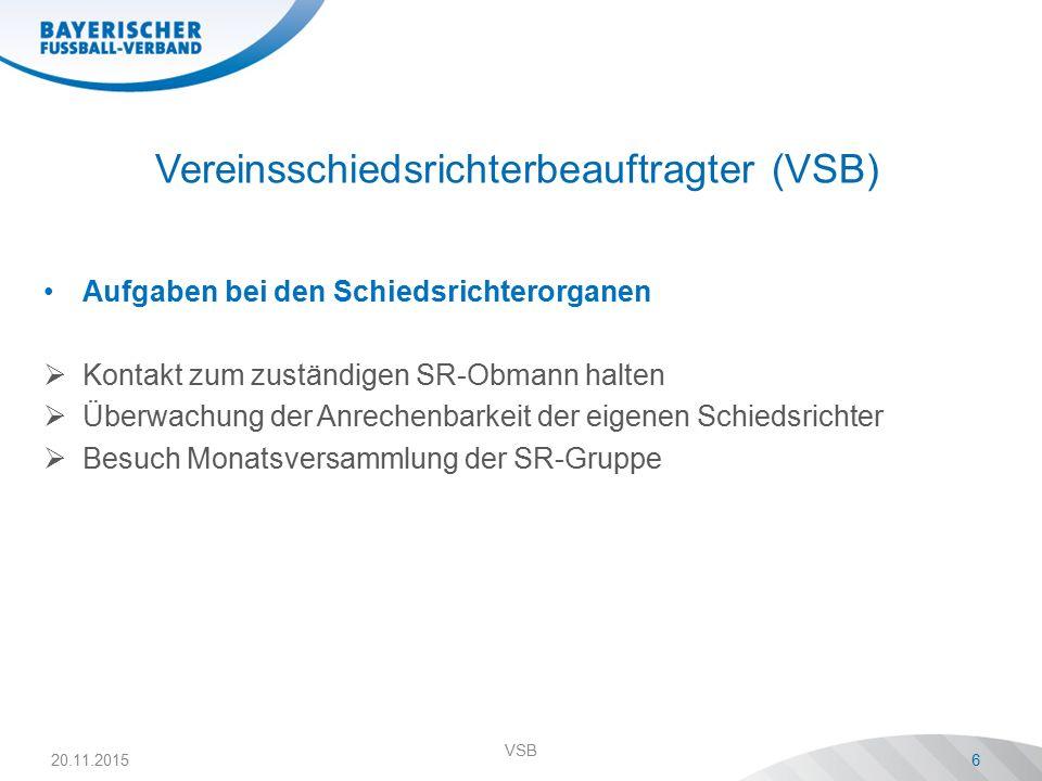 Vereinsschiedsrichterbeauftragter (VSB) Aufgaben bei den Schiedsrichterorganen  Kontakt zum zuständigen SR-Obmann halten  Überwachung der Anrechenba
