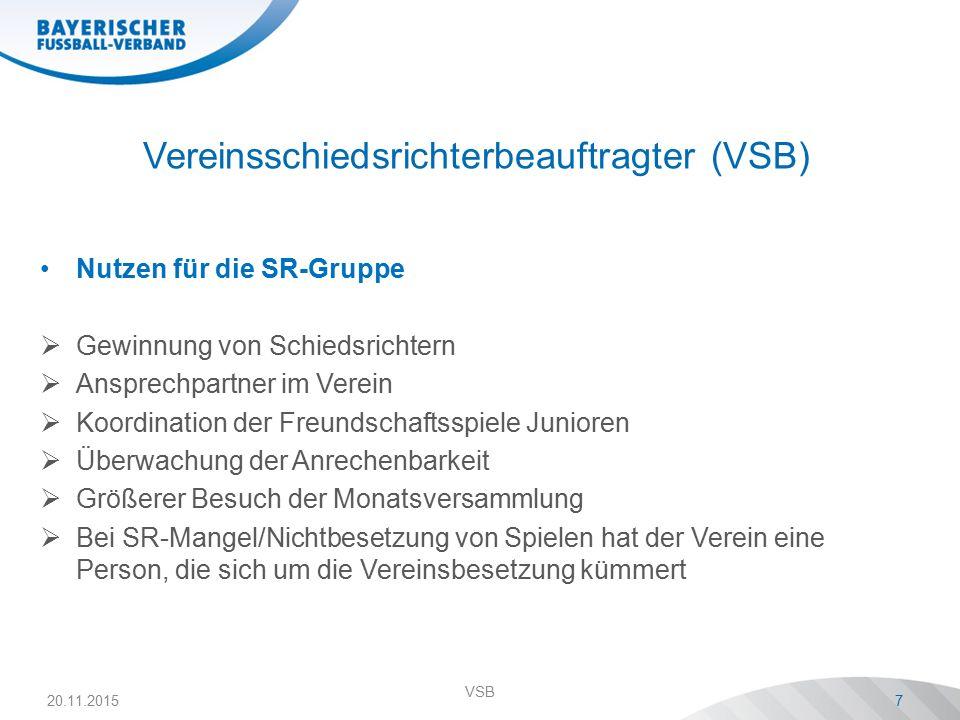 Vereinsschiedsrichterbeauftragter (VSB) Nutzen für die SR-Gruppe  Gewinnung von Schiedsrichtern  Ansprechpartner im Verein  Koordination der Freund