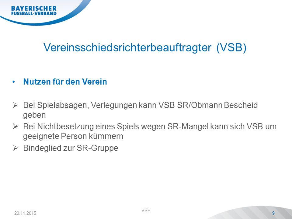 Vereinsschiedsrichterbeauftragter (VSB) Nutzen für den Verein  Bei Spielabsagen, Verlegungen kann VSB SR/Obmann Bescheid geben  Bei Nichtbesetzung eines Spiels wegen SR-Mangel kann sich VSB um geeignete Person kümmern  Bindeglied zur SR-Gruppe 20.11.2015 VSB 9