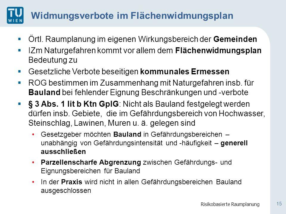 15 Widmungsverbote im Flächenwidmungsplan  Örtl.