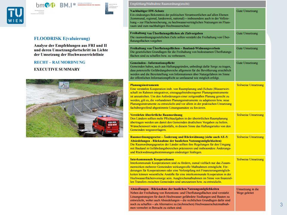 4 Risiko und Raumordnung  Risikoorientierte Betrachtungsweise nicht im Vordergrund  Raumordnung als Maßnahme der präventiven Gefahrenvorsorge Einschränkung von Bauführungen in Gefahrenbereichen Freihalten von Gefährdungsbereichen durch Widmungsverbote In der örtlichen Widmungs- und Baugenehmigungspraxis teilweise Risikoansätze  Differenzierte Berücksichtigung des Risikos Darstellungen in Karten und Plänen Überörtlichen und örtlichen Raumpläne Abgestufte Nutzung- und Bauverbote Arten von Naturgefahren: Hochwasser/Lawinen bzw.