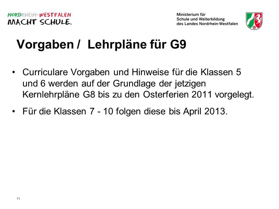 11 Vorgaben / Lehrpläne für G9 Curriculare Vorgaben und Hinweise für die Klassen 5 und 6 werden auf der Grundlage der jetzigen Kernlehrpläne G8 bis zu den Osterferien 2011 vorgelegt.