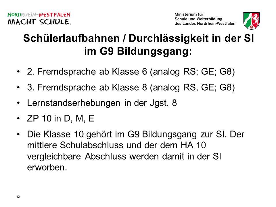 12 Schülerlaufbahnen / Durchlässigkeit in der SI im G9 Bildungsgang: 2.