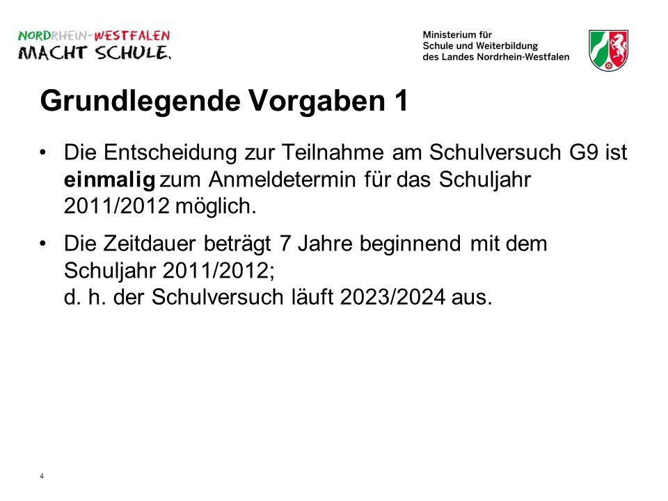4 Grundlegende Vorgaben 1 Die Entscheidung zur Teilnahme am Schulversuch G9 ist einmalig zum Anmeldetermin für das Schuljahr 2011/2012 möglich.
