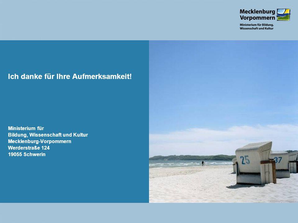 Ich danke für Ihre Aufmerksamkeit! Ministerium für Bildung, Wissenschaft und Kultur Mecklenburg-Vorpommern Werderstraße 124 19055 Schwerin