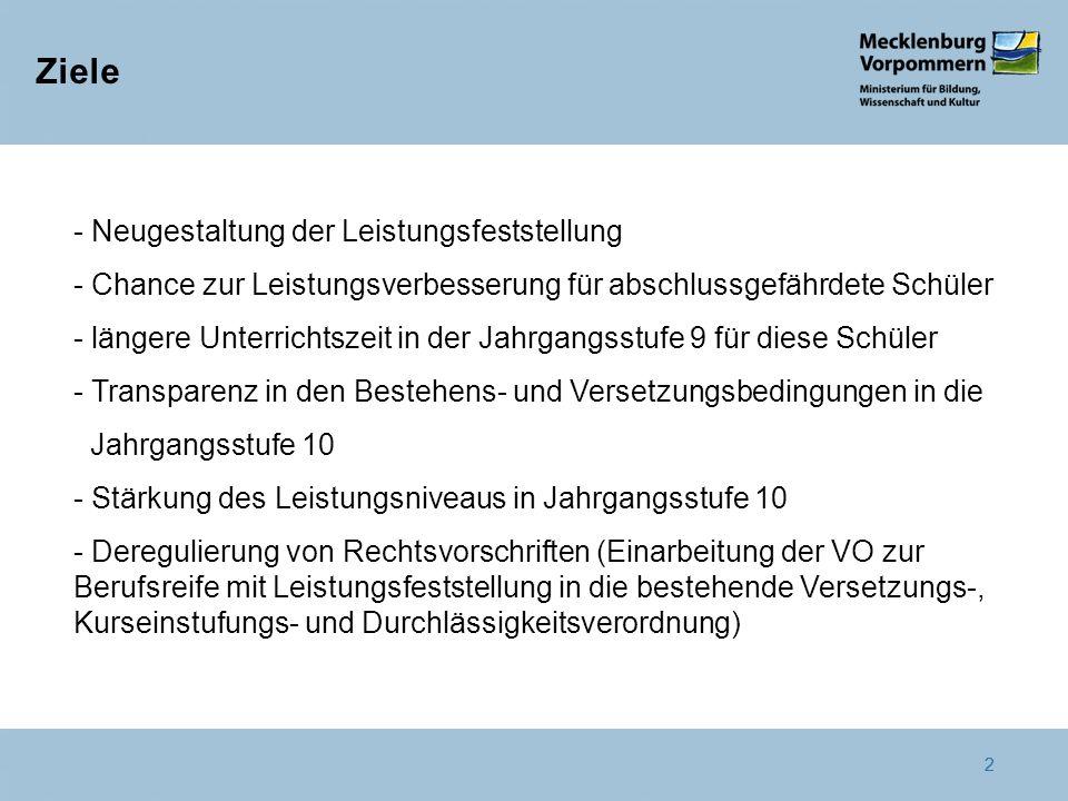 2 Ziele 2 - Neugestaltung der Leistungsfeststellung - Chance zur Leistungsverbesserung für abschlussgefährdete Schüler - längere Unterrichtszeit in de