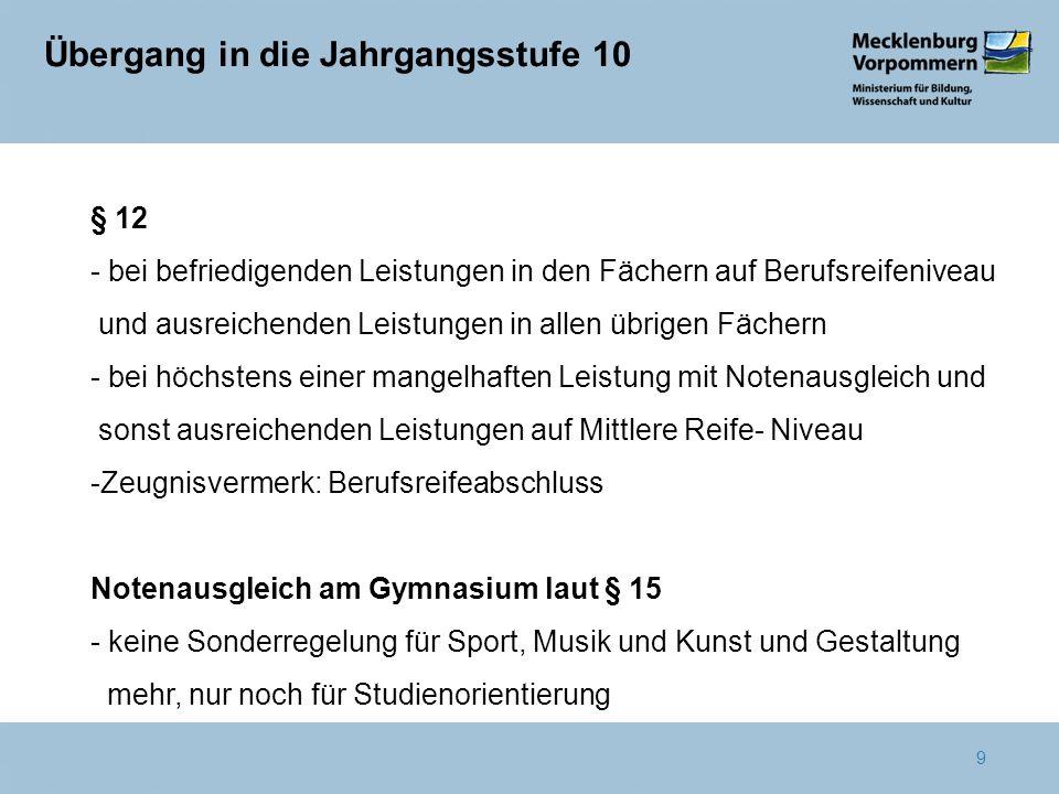 10 Notenausgleich am Gymnasium § 15 - keine Sonderregelung für Sport, Musik und Kunst und Gestaltung mehr, nur noch für Studienorientierung