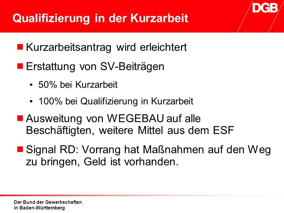Der Bund der Gewerkschaften in Baden-Württemberg Qualifizierung in der Kurzarbeit  Kurzarbeitsantrag wird erleichtert  Erstattung von SV-Beiträgen ▪50% bei Kurzarbeit ▪100% bei Qualifizierung in Kurzarbeit  Ausweitung von WEGEBAU auf alle Beschäftigten, weitere Mittel aus dem ESF  Signal RD: Vorrang hat Maßnahmen auf den Weg zu bringen, Geld ist vorhanden.