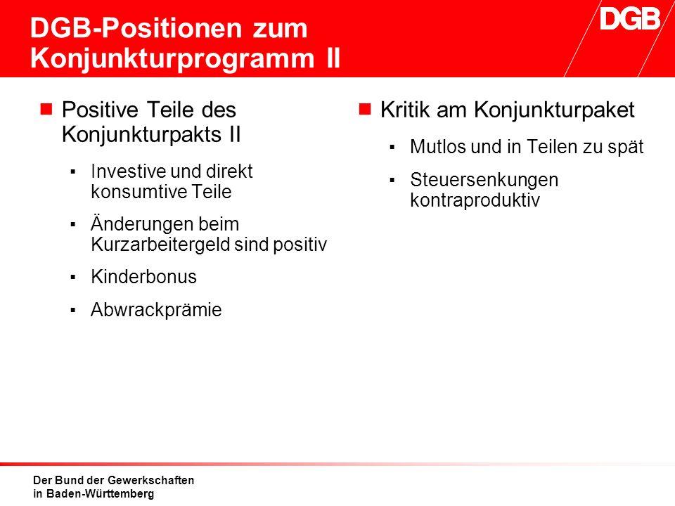 Der Bund der Gewerkschaften in Baden-Württemberg DGB-Positionen zum Konjunkturprogramm II  Positive Teile des Konjunkturpakts II ▪Investive und direk