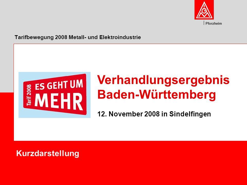 Pforzheim Tarifbewegung 2008 Metall- und Elektroindustrie Kurzdarstellung Verhandlungsergebnis Baden-Württemberg 12. November 2008 in Sindelfingen