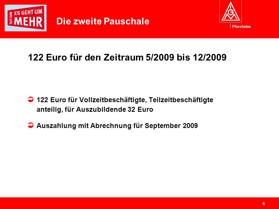Pforzheim 6 122 Euro für den Zeitraum 5/2009 bis 12/2009 122 Euro für Vollzeitbeschäftigte, Teilzeitbeschäftigte anteilig, für Auszubildende 32 Euro A
