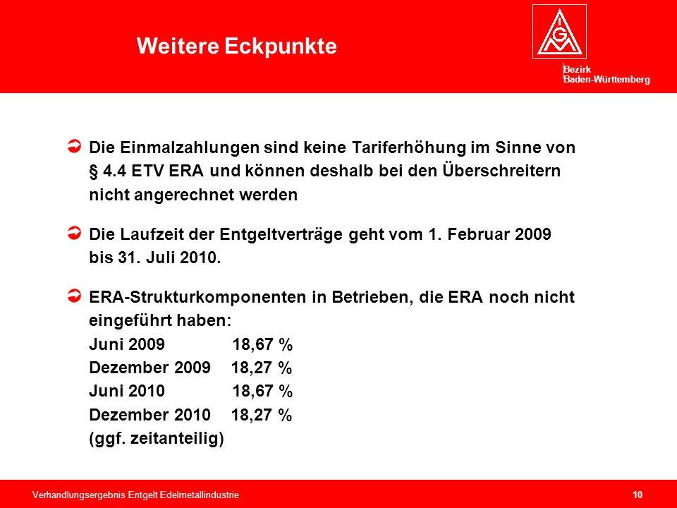 Bezirk Baden-Württemberg Verhandlungsergebnis Entgelt Edelmetallindustrie10 Die Einmalzahlungen sind keine Tariferhöhung im Sinne von § 4.4 ETV ERA und können deshalb bei den Überschreitern nicht angerechnet werden Die Laufzeit der Entgeltverträge geht vom 1.