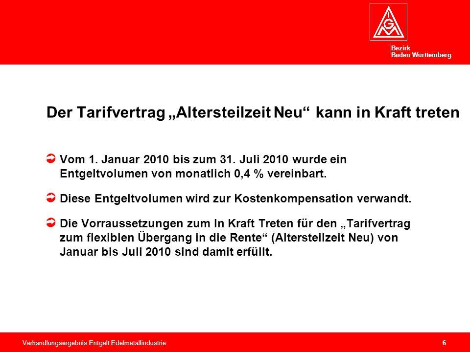 """Bezirk Baden-Württemberg Verhandlungsergebnis Entgelt Edelmetallindustrie6 Der Tarifvertrag """"Altersteilzeit Neu kann in Kraft treten Vom 1."""