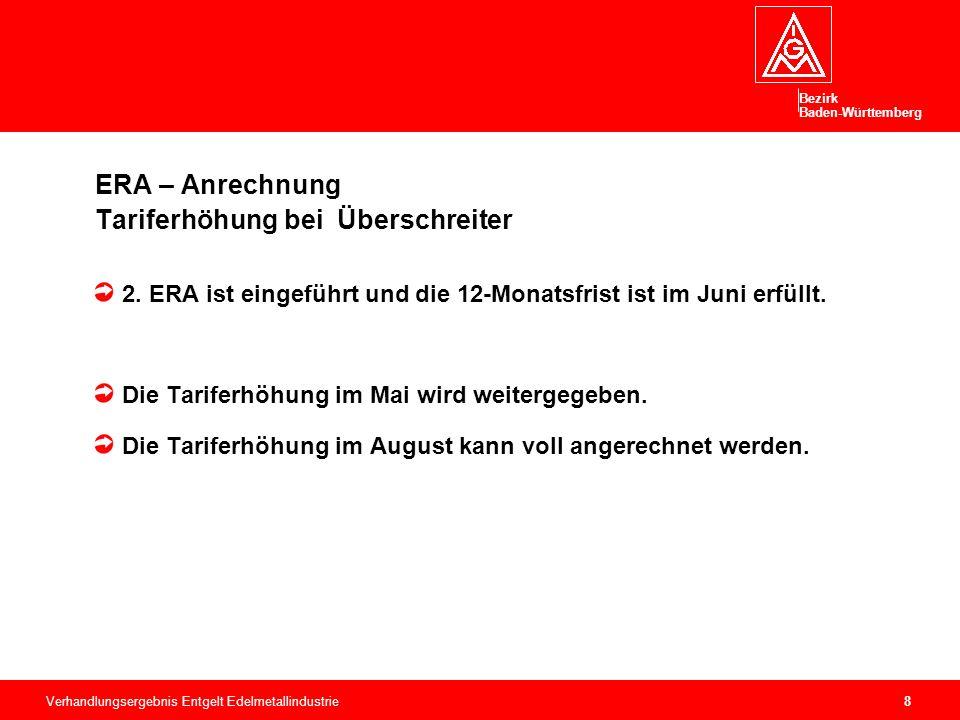 Bezirk Baden-Württemberg Verhandlungsergebnis Entgelt Edelmetallindustrie9 ERA – Anrechnung Tariferhöhung bei Überschreiter 3.