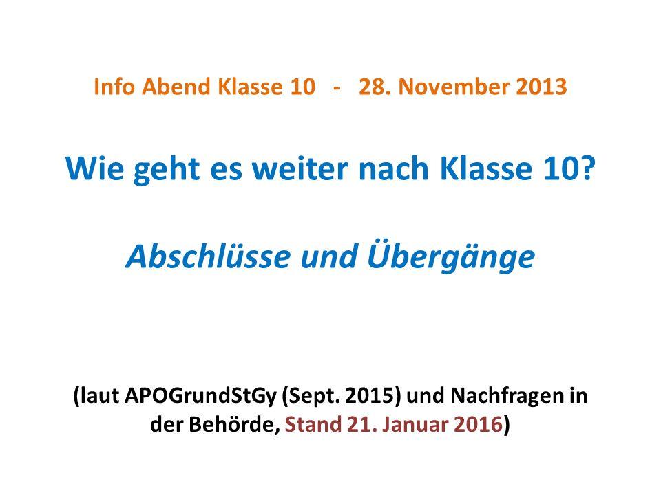 Info Abend Klasse 10 - 28. November 2013 Wie geht es weiter nach Klasse 10.