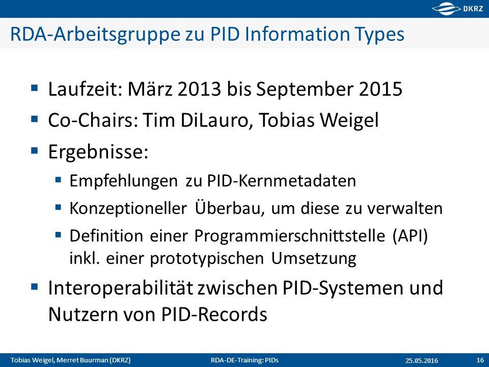 Tobias Weigel, Merret Buurman (DKRZ) RDA-Arbeitsgruppe zu PID Information Types  Laufzeit: März 2013 bis September 2015  Co-Chairs: Tim DiLauro, Tob