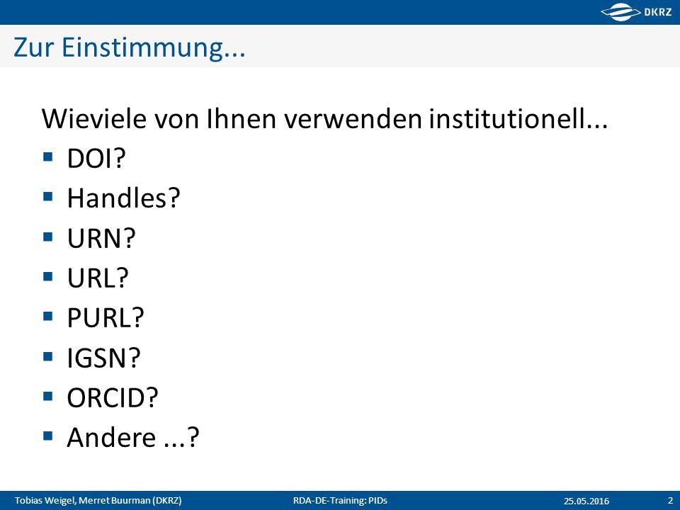 Tobias Weigel, Merret Buurman (DKRZ) Zur Einstimmung... Wieviele von Ihnen verwenden institutionell...  DOI?  Handles?  URN?  URL?  PURL?  IGSN?