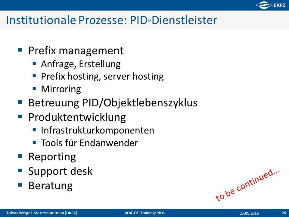 Tobias Weigel, Merret Buurman (DKRZ) Institutionale Prozesse: PID-Dienstleister  Prefix management  Anfrage, Erstellung  Prefix hosting, server hos