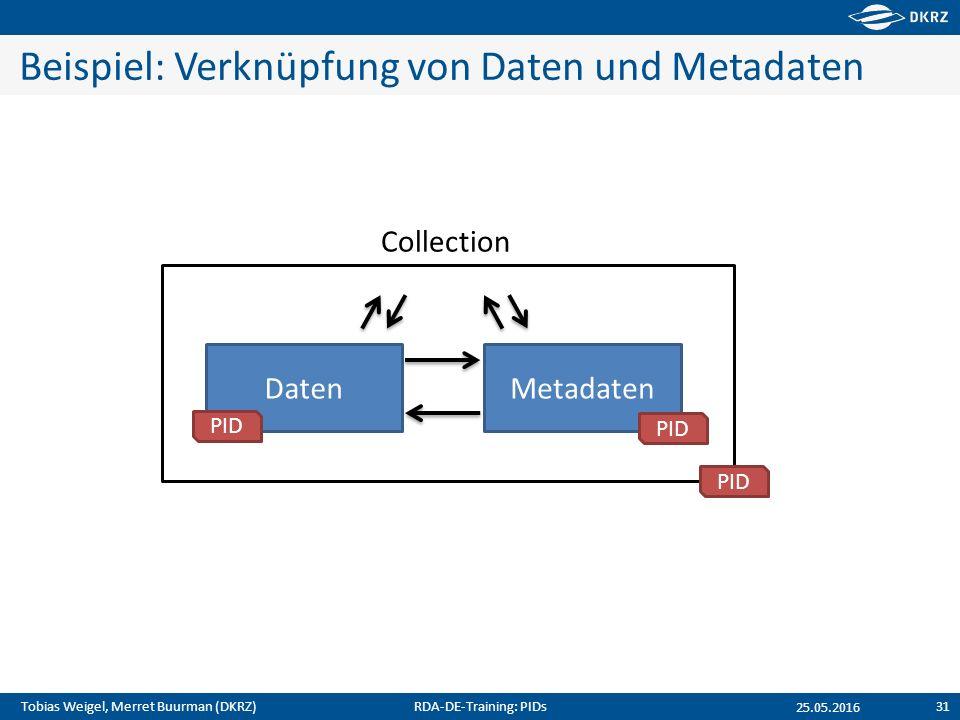 Tobias Weigel, Merret Buurman (DKRZ) Beispiel: Verknüpfung von Daten und Metadaten 25.05.2016 DatenMetadaten Collection PID RDA-DE-Training: PIDs31