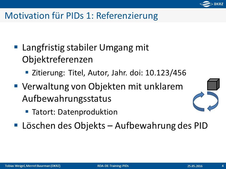 Tobias Weigel, Merret Buurman (DKRZ) Motivation für PIDs 1: Referenzierung  Langfristig stabiler Umgang mit Objektreferenzen  Zitierung: Titel, Auto