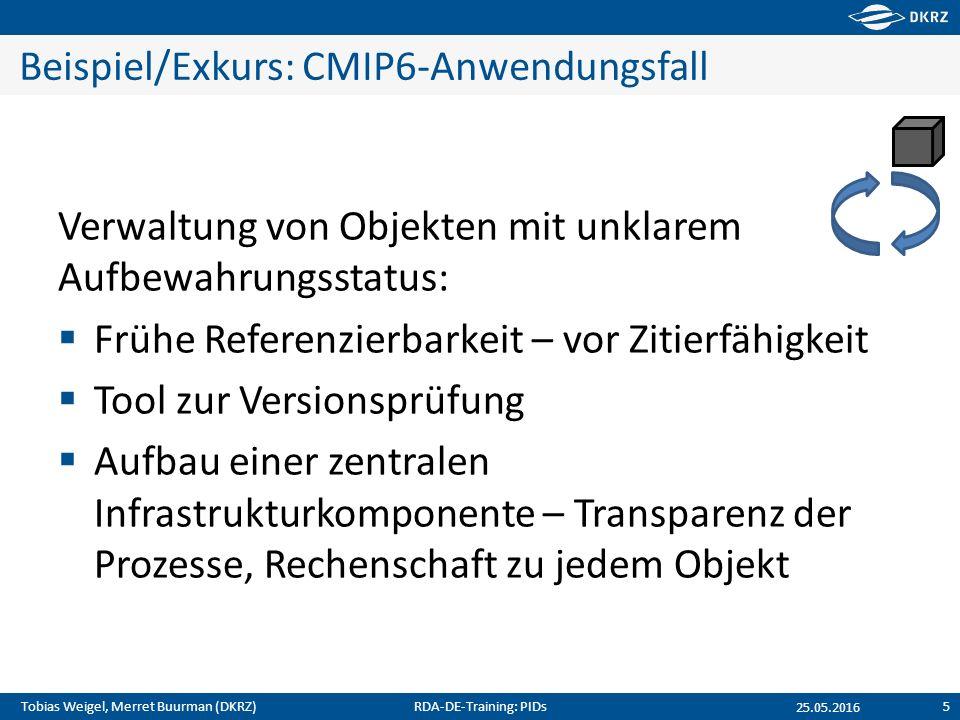 Tobias Weigel, Merret Buurman (DKRZ) Beispiel/Exkurs: CMIP6-Anwendungsfall Verwaltung von Objekten mit unklarem Aufbewahrungsstatus:  Frühe Referenzi