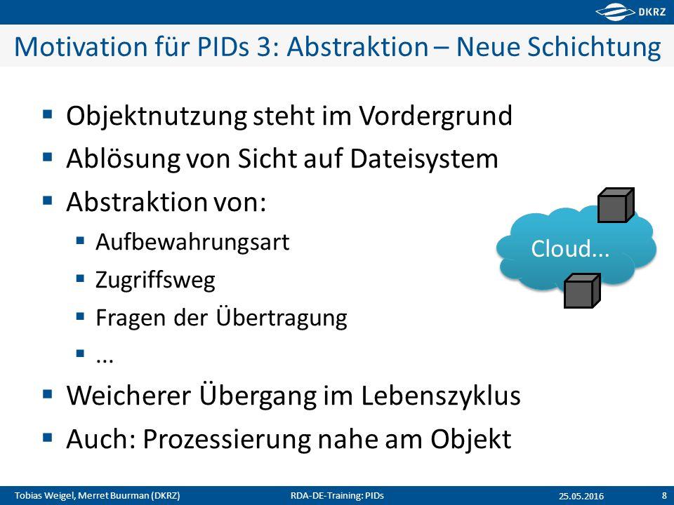 Tobias Weigel, Merret Buurman (DKRZ) Motivation für PIDs 3: Abstraktion – Neue Schichtung  Objektnutzung steht im Vordergrund  Ablösung von Sicht au