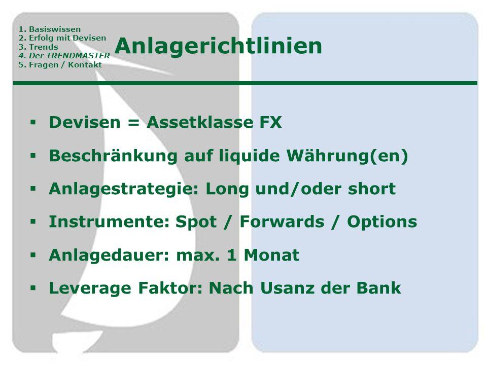 Anlagerichtlinien  Devisen = Assetklasse FX  Beschränkung auf liquide Währung(en)  Anlagestrategie: Long und/oder short  Instrumente: Spot / Forwa