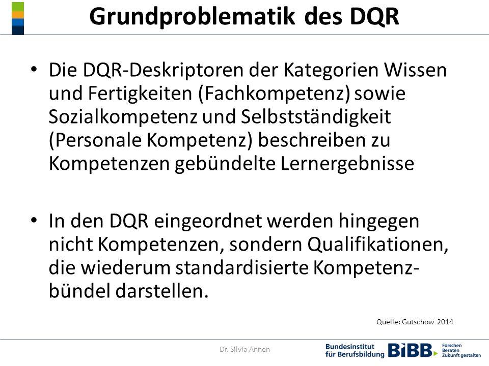 Grundproblematik des DQR Die DQR-Deskriptoren der Kategorien Wissen und Fertigkeiten (Fachkompetenz) sowie Sozialkompetenz und Selbstständigkeit (Personale Kompetenz) beschreiben zu Kompetenzen gebündelte Lernergebnisse In den DQR eingeordnet werden hingegen nicht Kompetenzen, sondern Qualifikationen, die wiederum standardisierte Kompetenz- bündel darstellen.