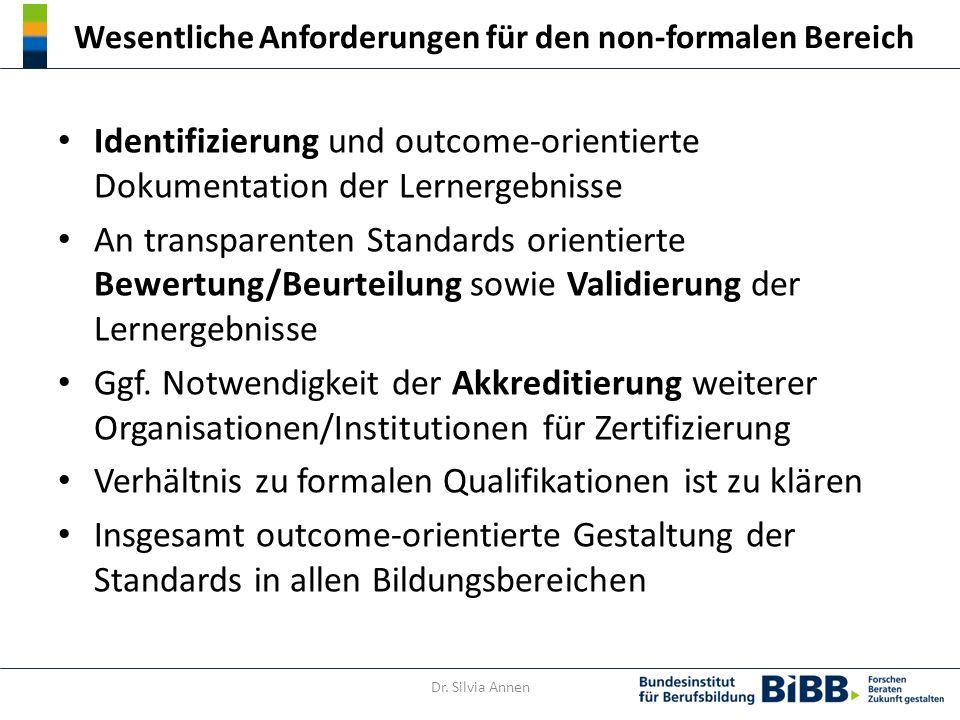 Wesentliche Anforderungen für den non-formalen Bereich Identifizierung und outcome-orientierte Dokumentation der Lernergebnisse An transparenten Standards orientierte Bewertung/Beurteilung sowie Validierung der Lernergebnisse Ggf.