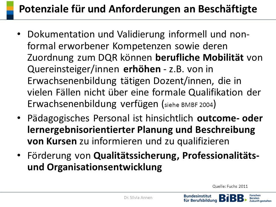 Potenziale für und Anforderungen an Beschäftigte Dokumentation und Validierung informell und non- formal erworbener Kompetenzen sowie deren Zuordnung zum DQR können berufliche Mobilität von Quereinsteiger/innen erhöhen - z.B.
