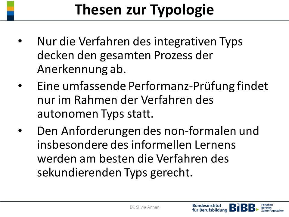 Thesen zur Typologie Nur die Verfahren des integrativen Typs decken den gesamten Prozess der Anerkennung ab.