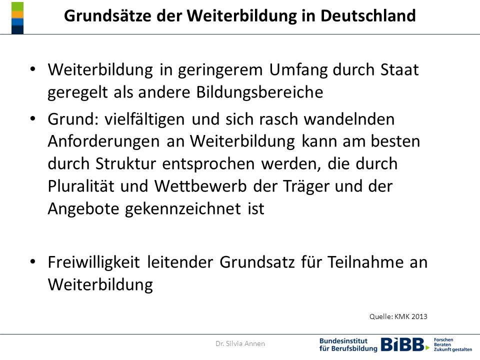 Berücksichtigung non-formalen und informellen Lernens im DQR Quelle: Gutschow 2014 Dr. Silvia Annen