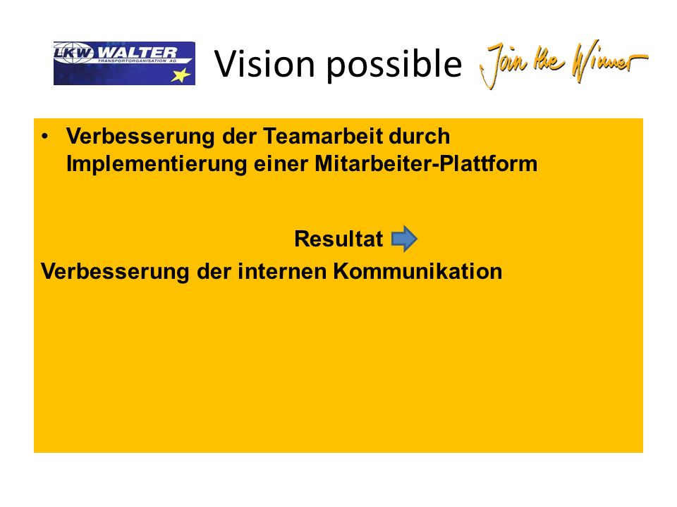 Vision possible Verbesserung der Teamarbeit durch Implementierung einer Mitarbeiter-Plattform Resultat Verbesserung der internen Kommunikation