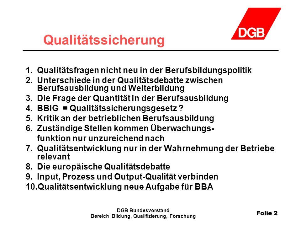 Folie 2 DGB Bundesvorstand Bereich Bildung, Qualifizierung, Forschung Qualitätssicherung 1.